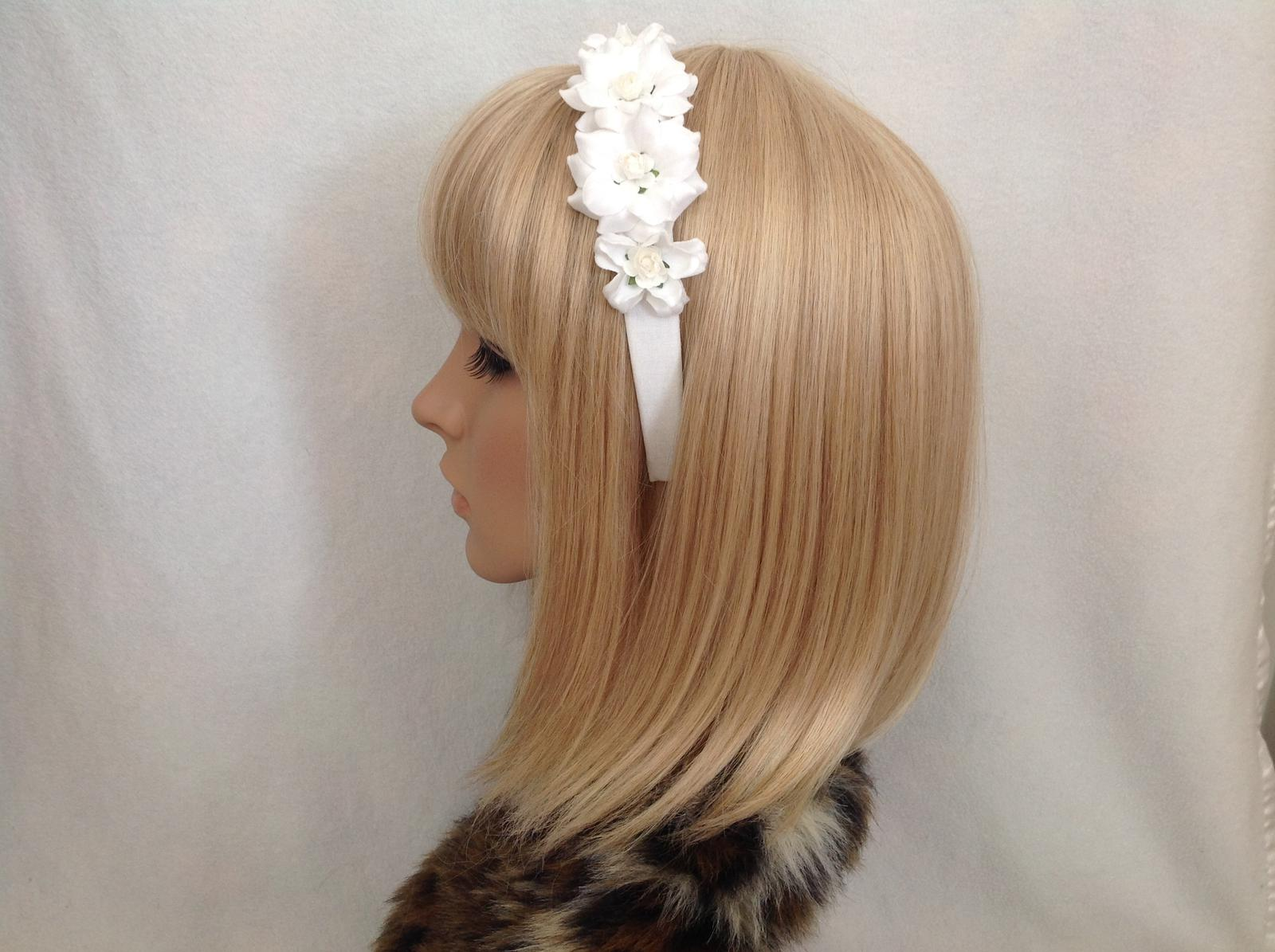 White rose headband