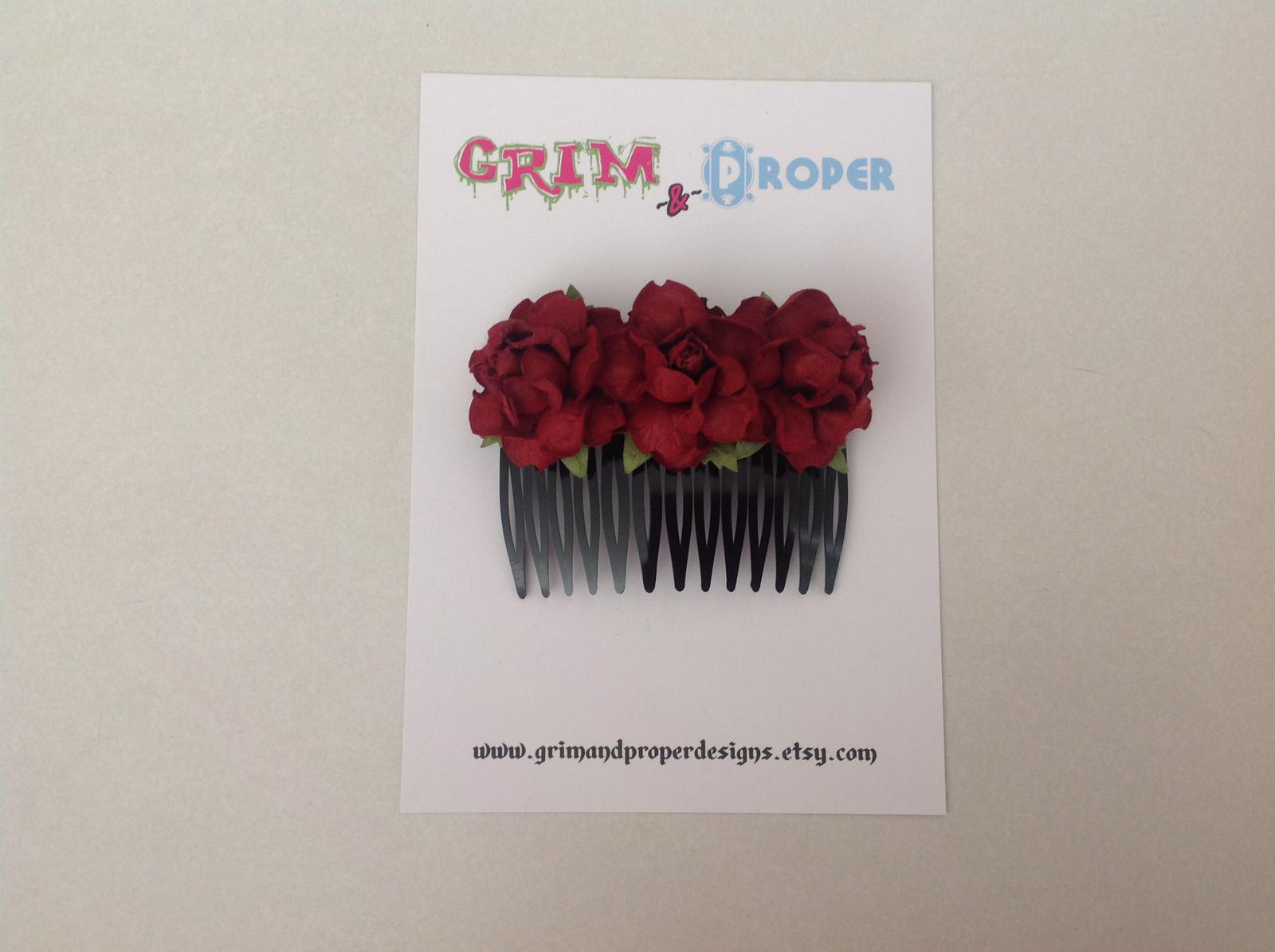 Burgundy & black rose hair comb