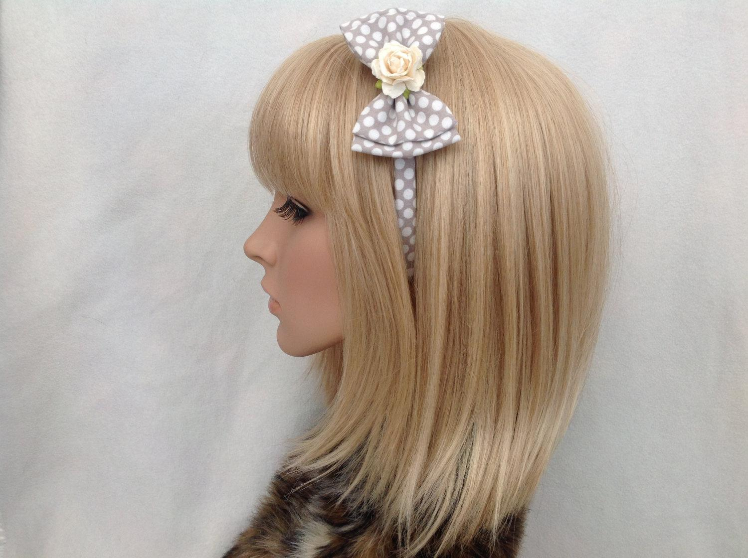 Grey & white polka dot rose headband