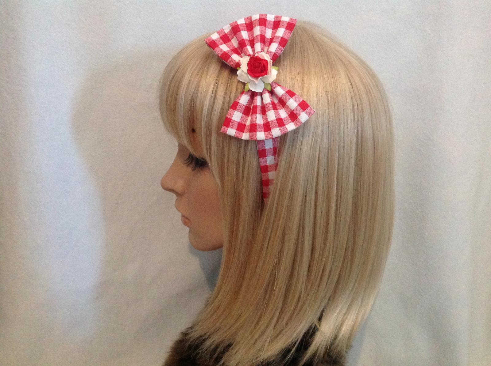 Red & white gingham rose headband