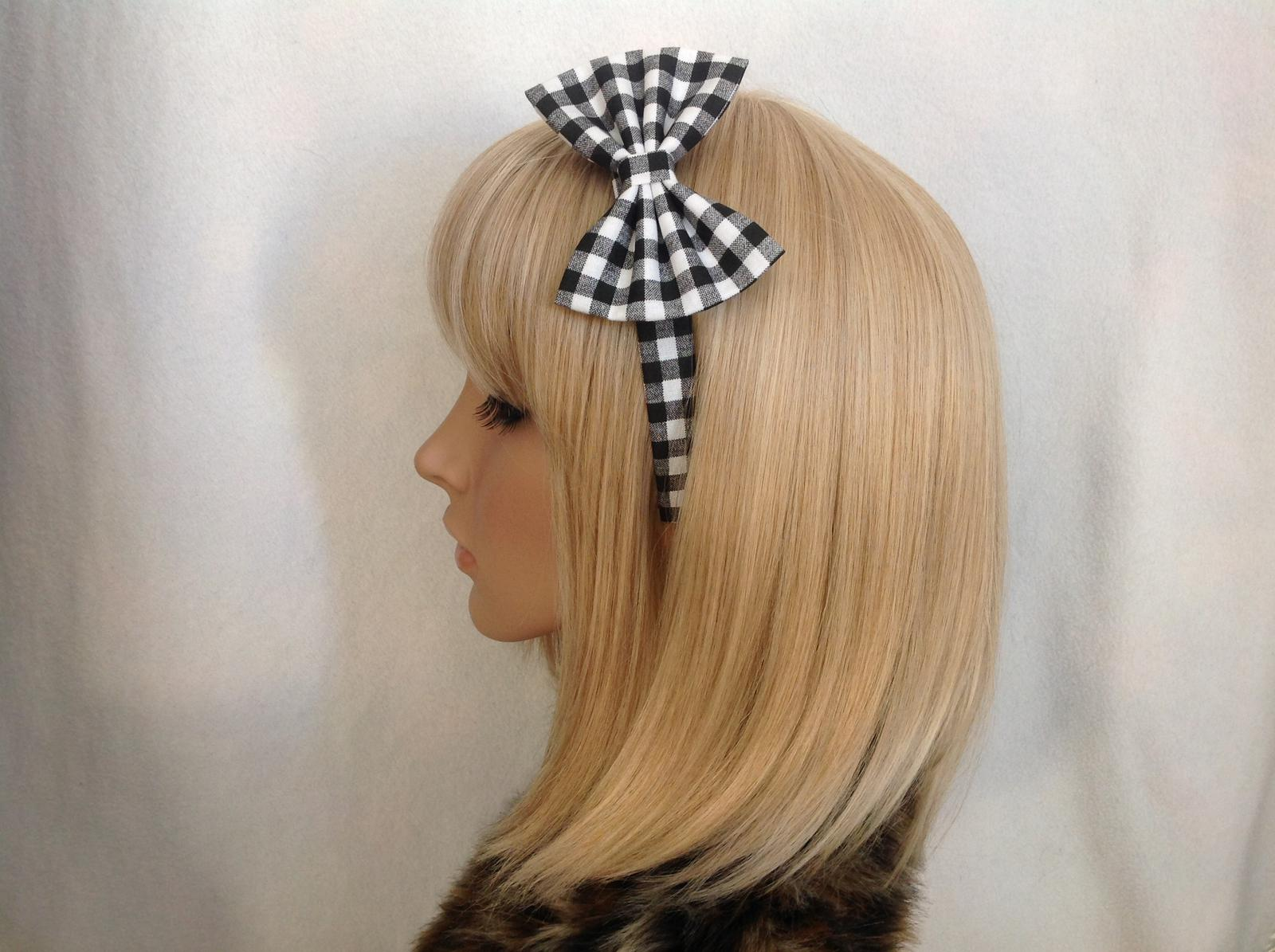 Black & white gingham headband
