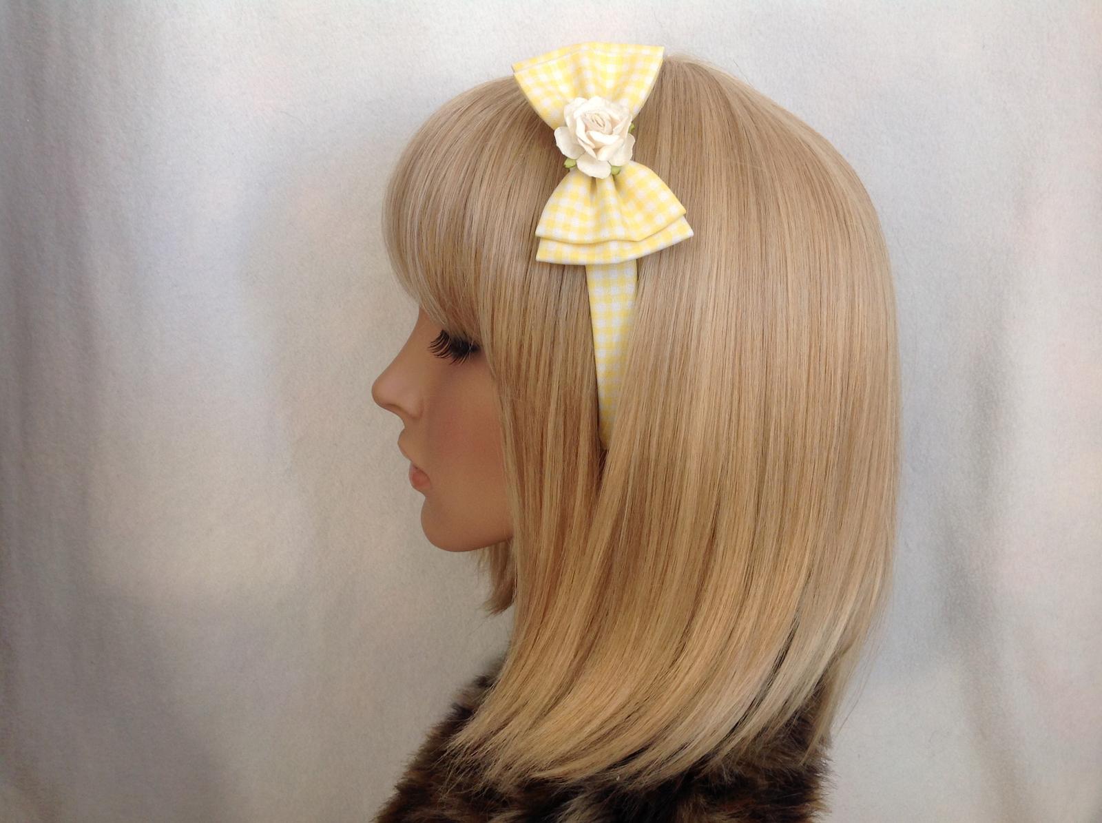 Yellow gingham rose headband