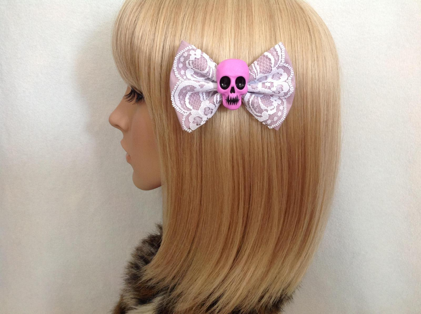 Purple lace skull bow