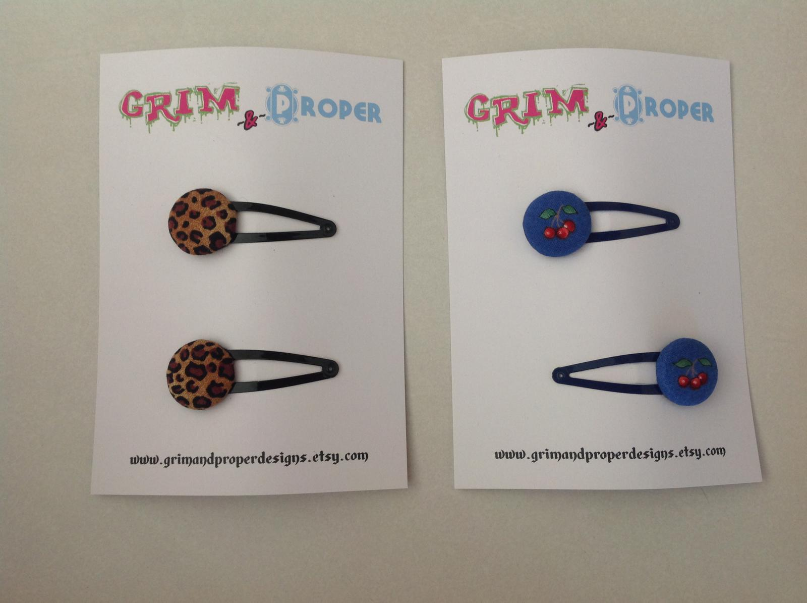 Leopard print & Cherry print snap clips