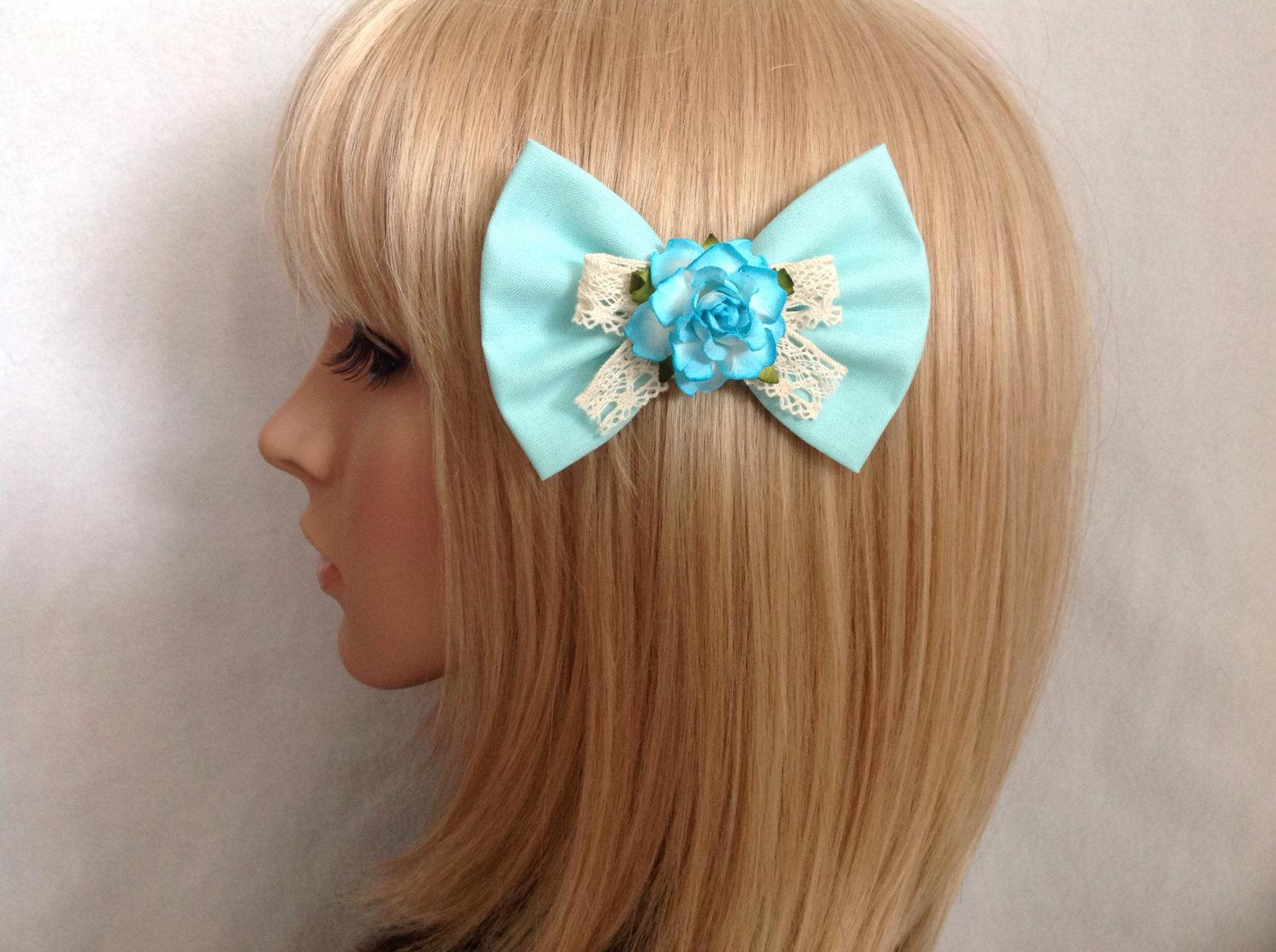 Blue ombre rose bow