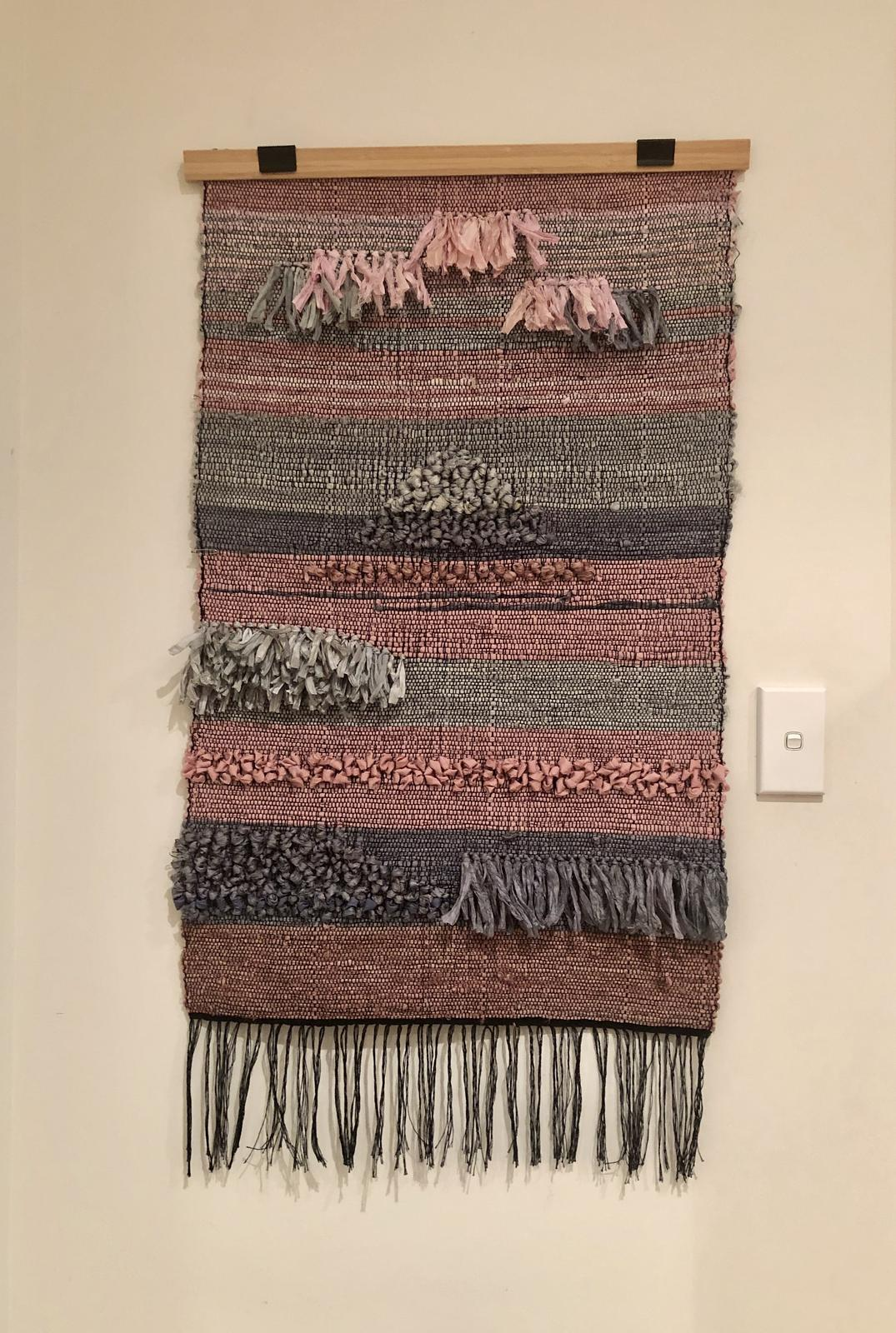 Weaved sari silk wall hanging
