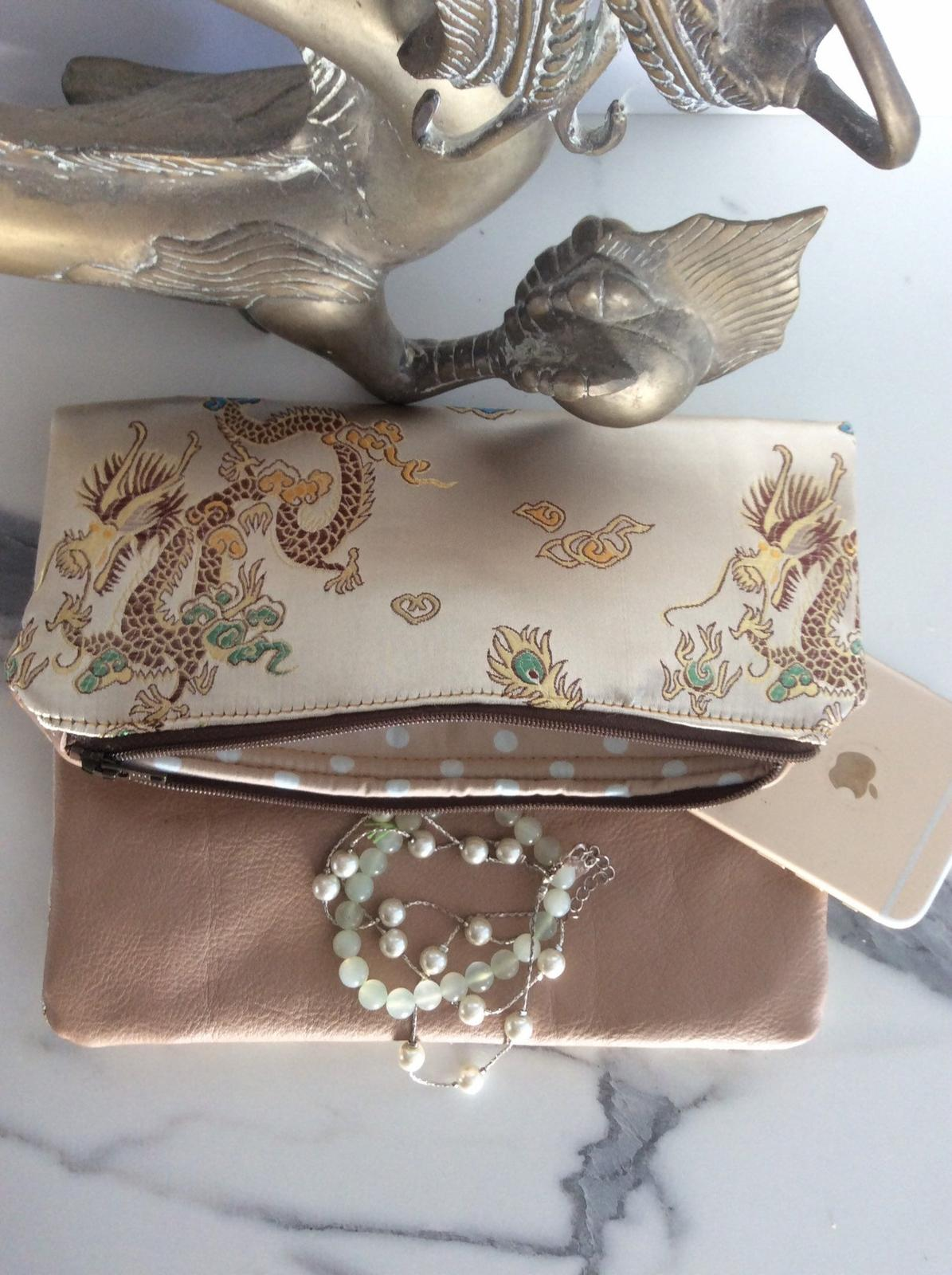 Dragon and Leather Foldover Clutch