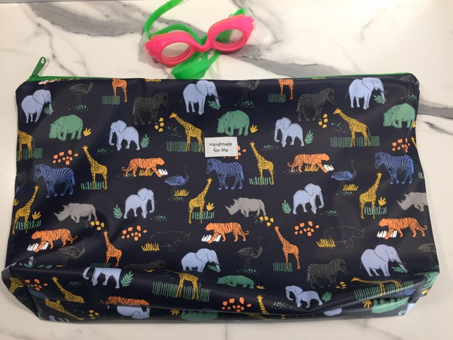 Large wetbag with African animal (and Tiger) print