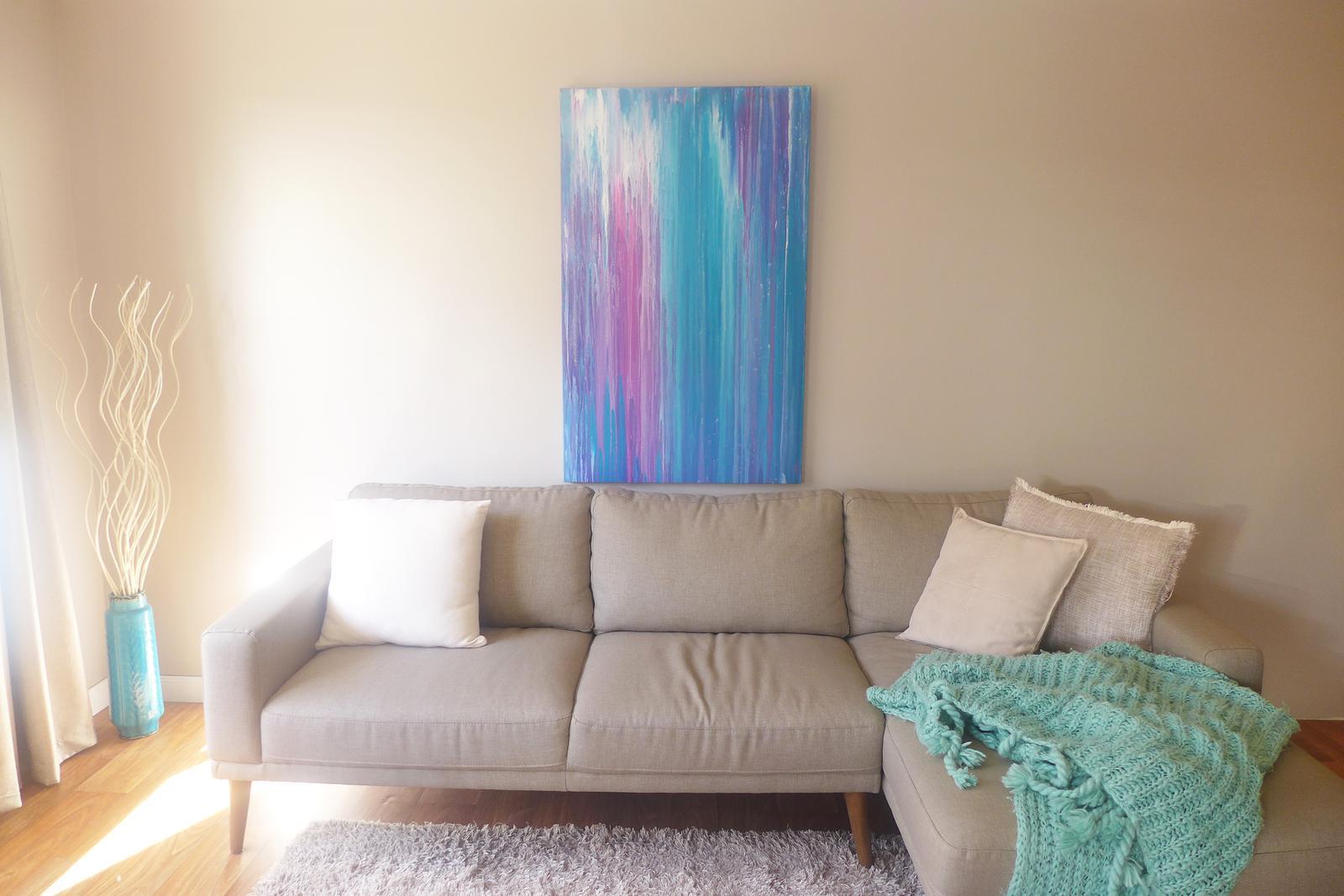 "Abstract Art painting ""Turquoise Rain"""