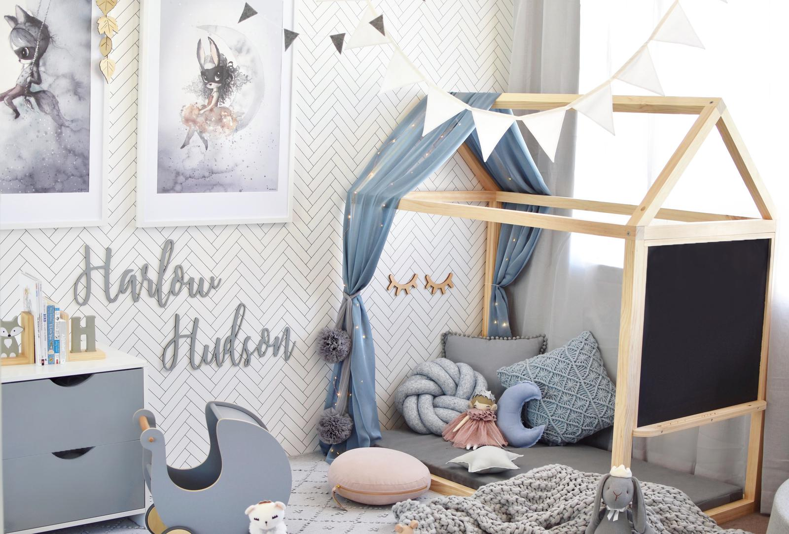Toddler House Bed Frame and Blackboard