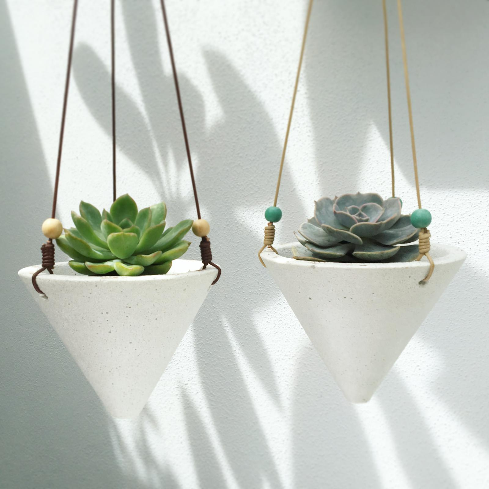 Leather hanging cone planters