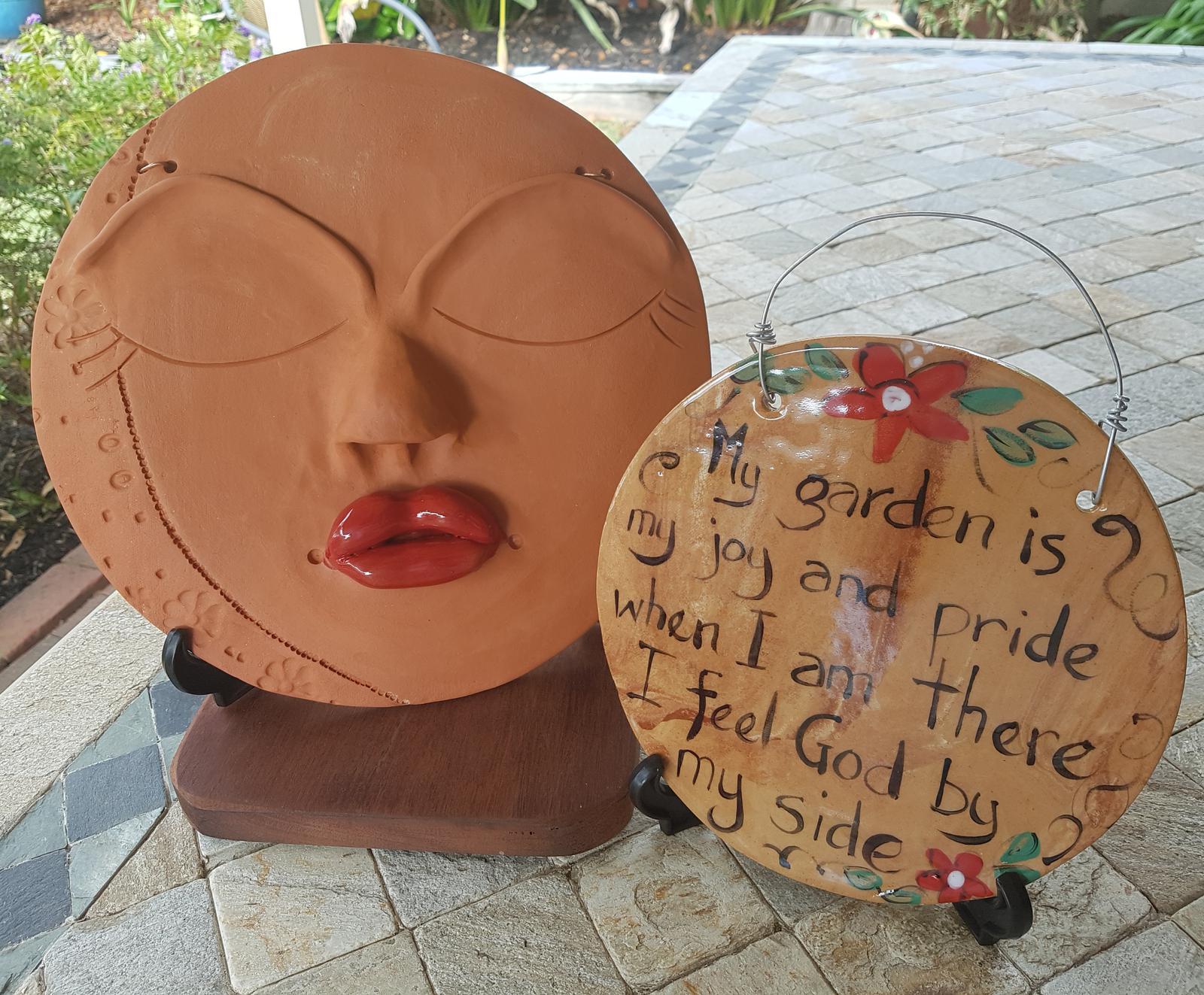 Moonface in Terracotta with Garden Plaque