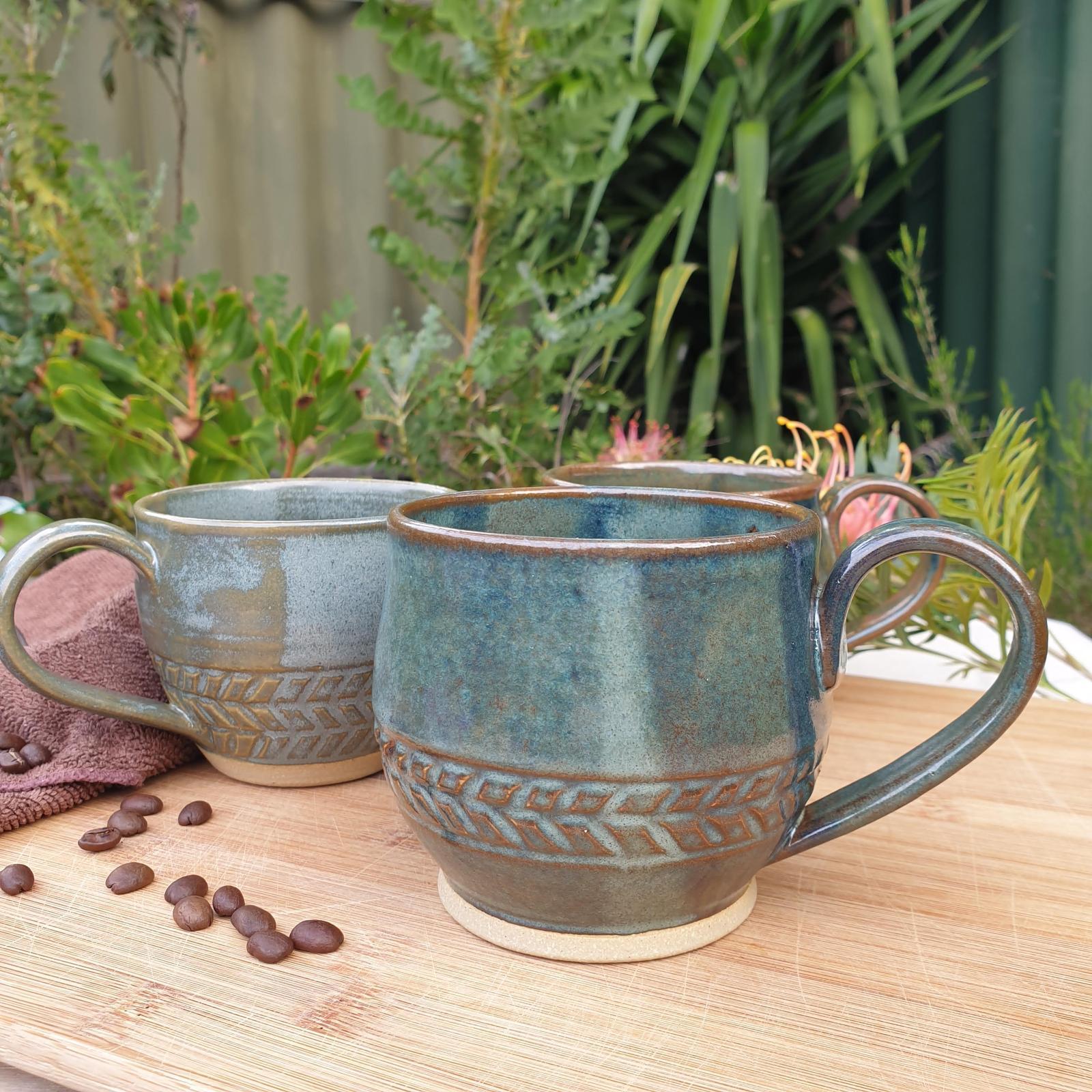 Rustic Green Mugs