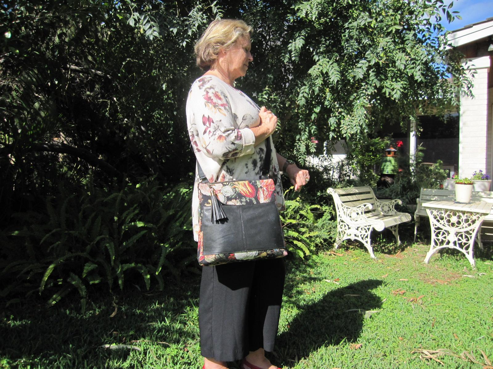 Large tapestry and leather bag