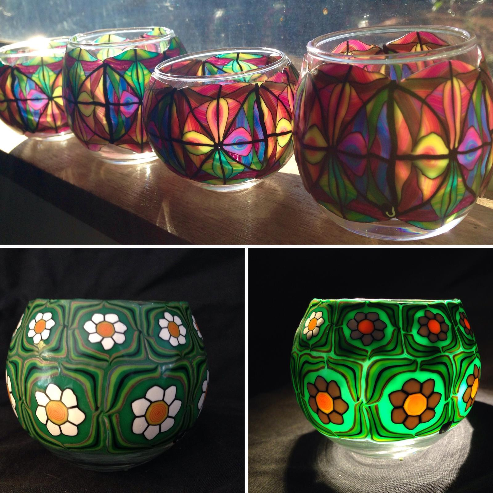 Votive candle holders decorated with polymer clay by Jay's Creations
