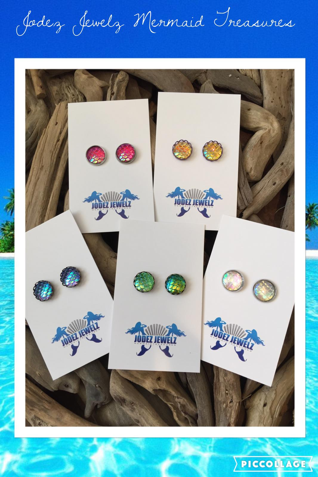 My Mermaid Scale Stud Earrings