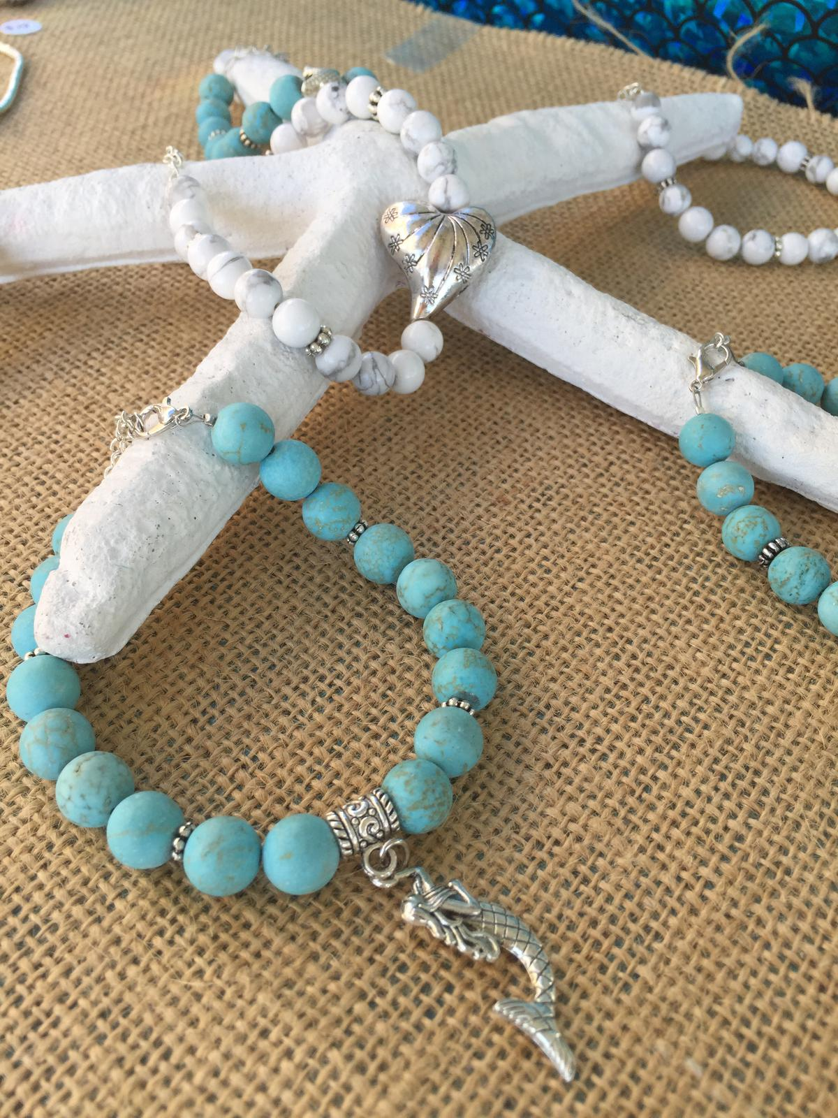 Turquoise and Howlite Anklets/Bracelets