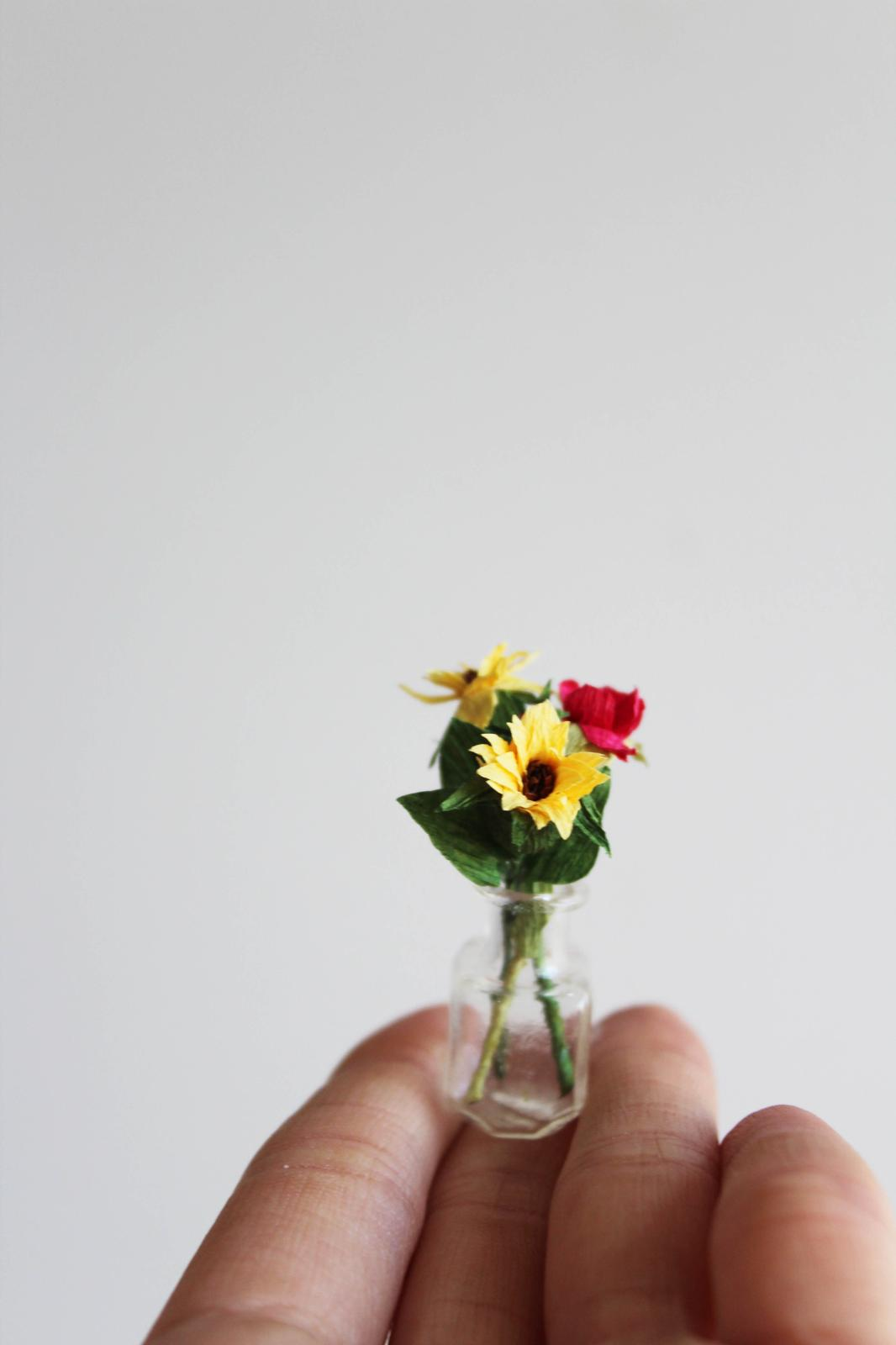 Tiny Vase of Paper Sunflowers and Roses