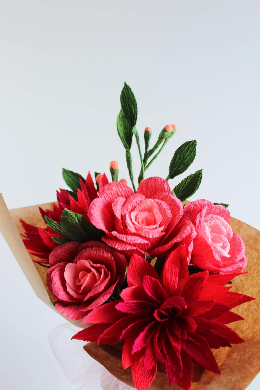 Paper Dahlia and Rose Bouquet