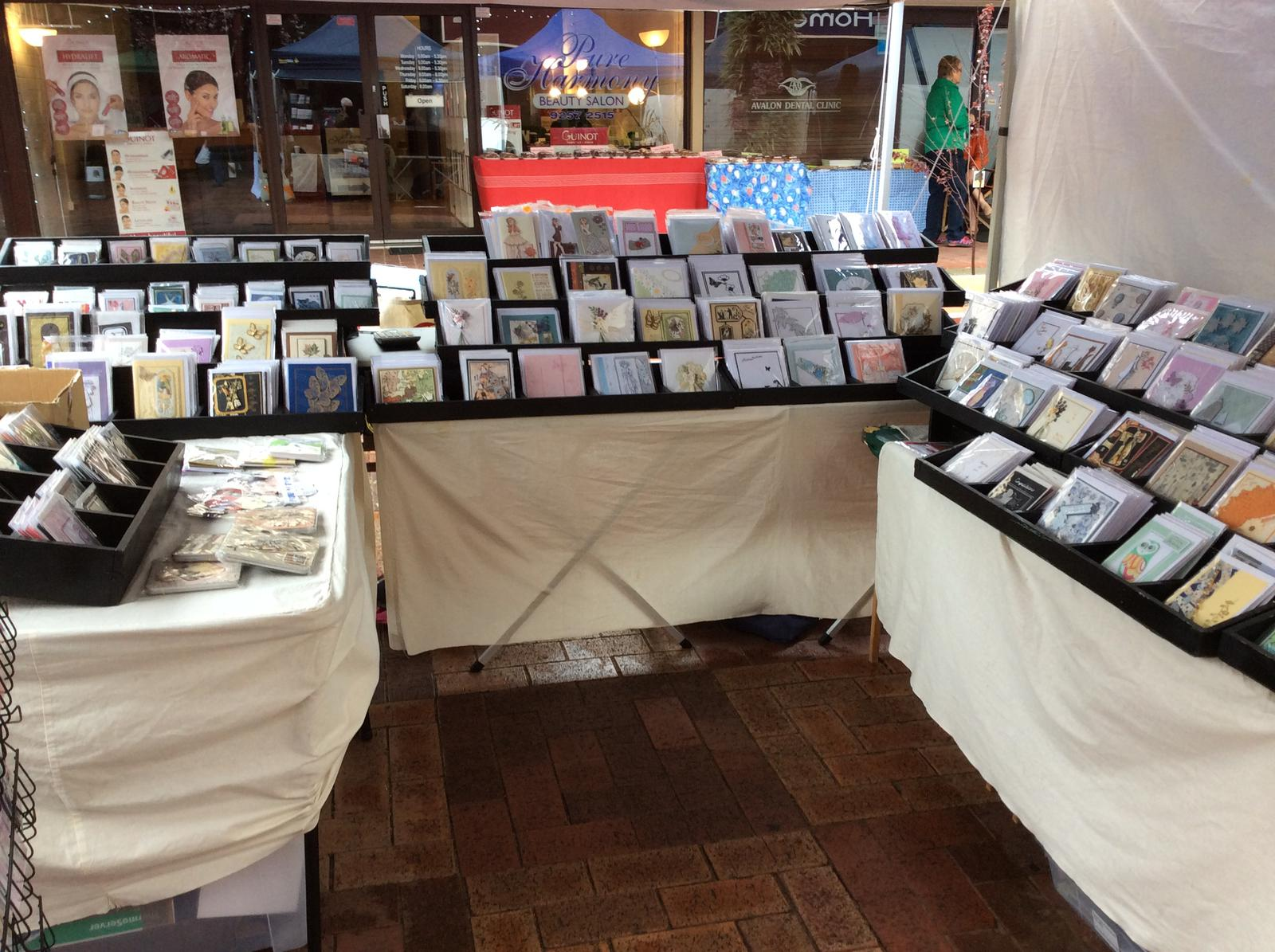 Stall set up and photos of cards