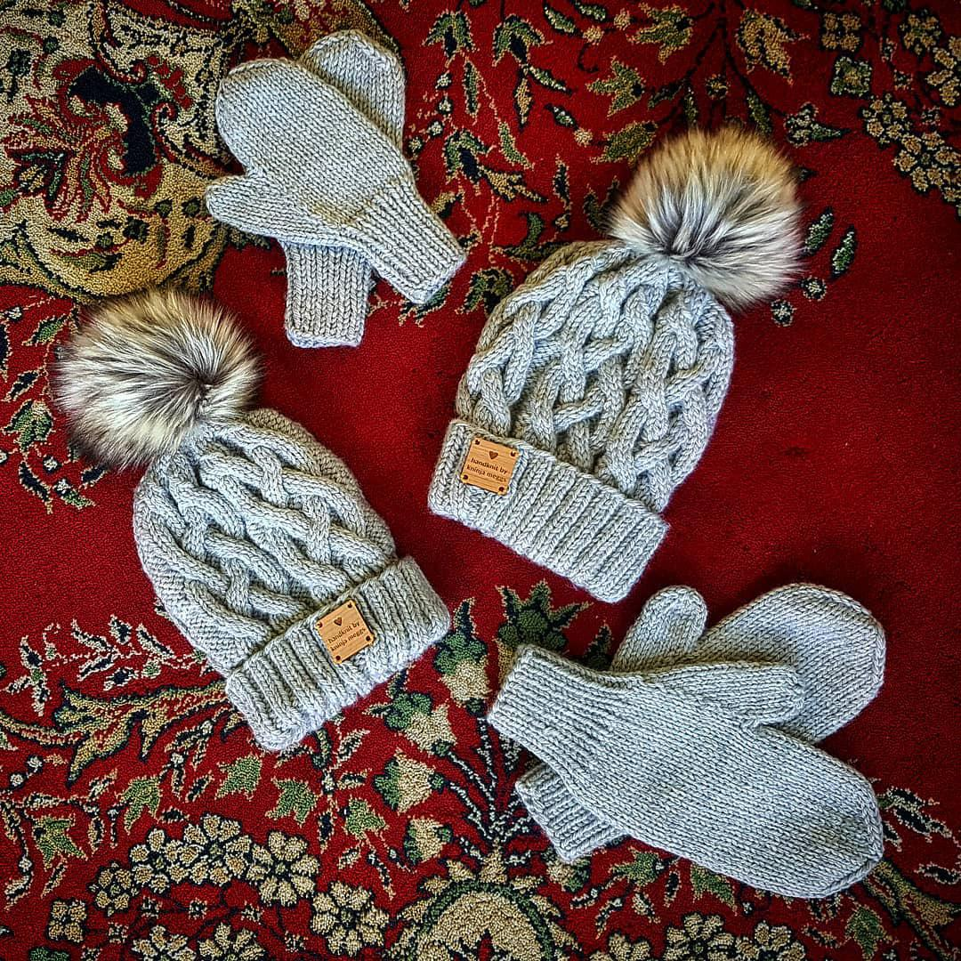 Classic Cabled Beanies and Matching Mittens ~ Big and little brother set