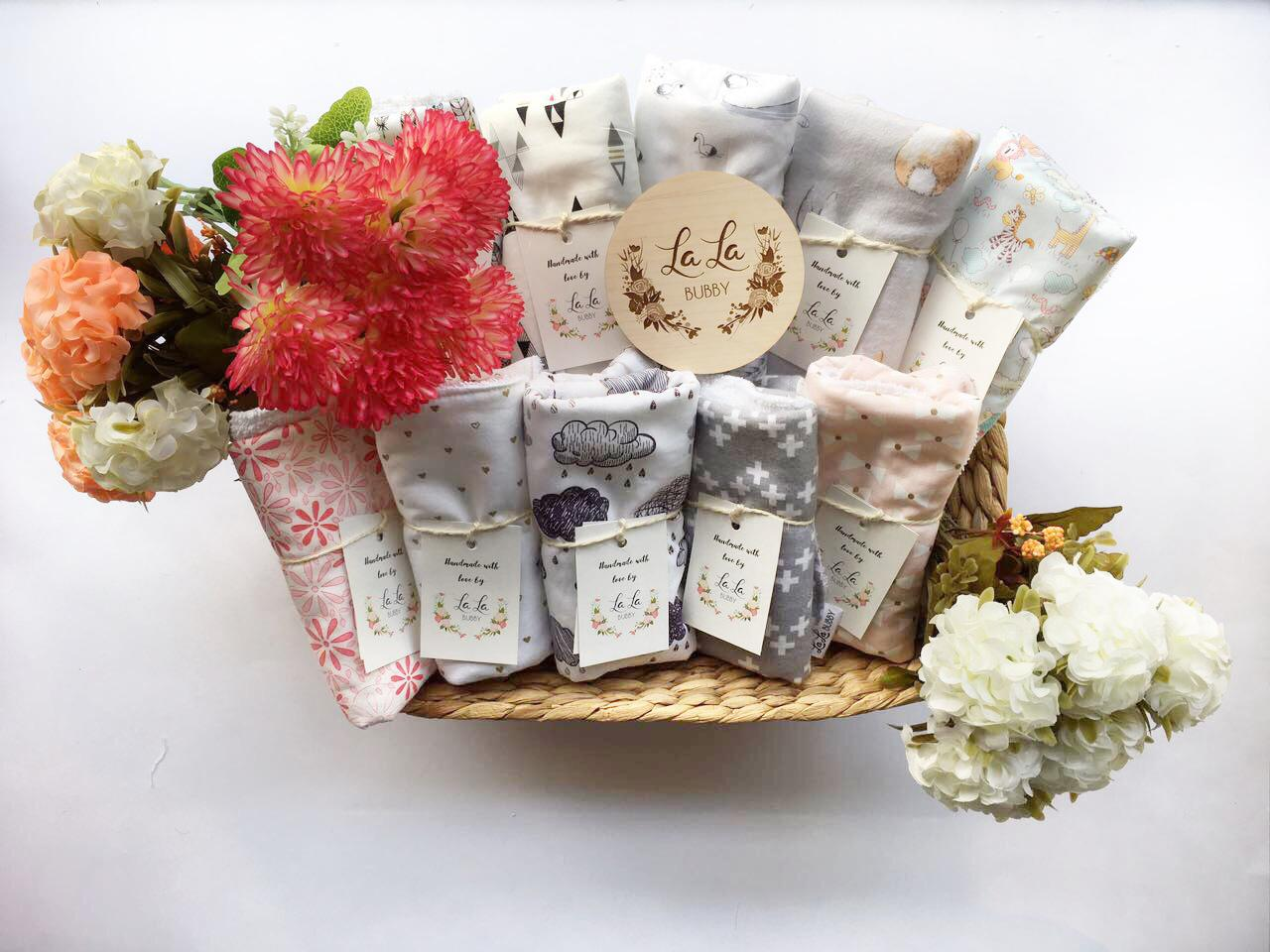 Basket of burp cloths