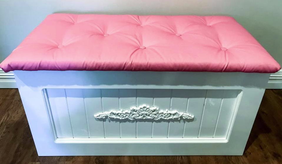 Pink Toy Box with Button Tufted Lid