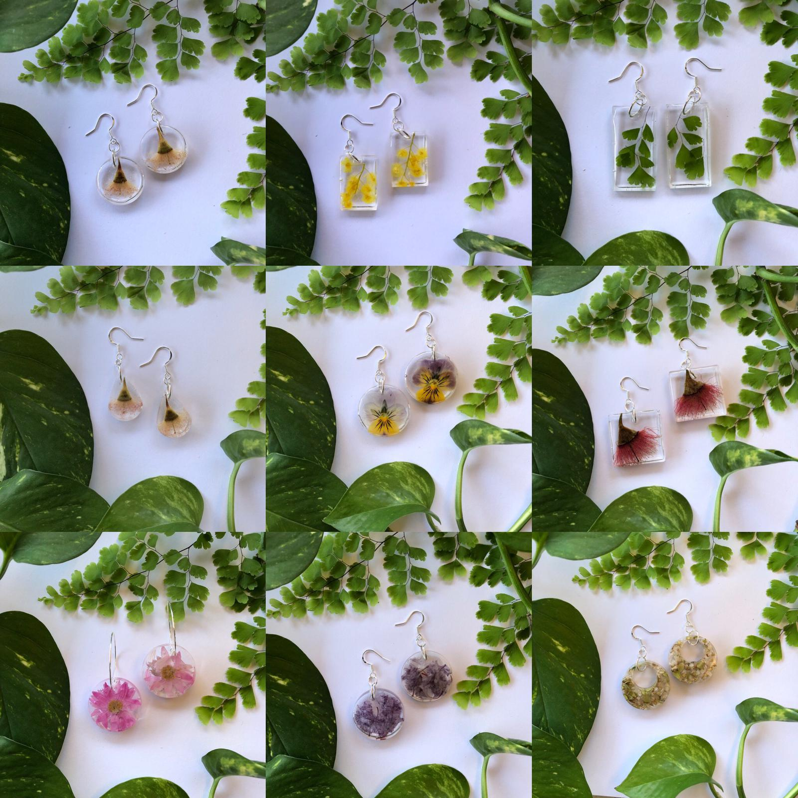 Resin Botanical Earrings