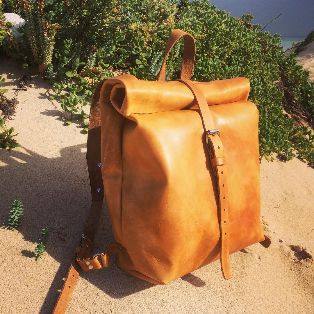 Twain - Rolltop Leather Backpack