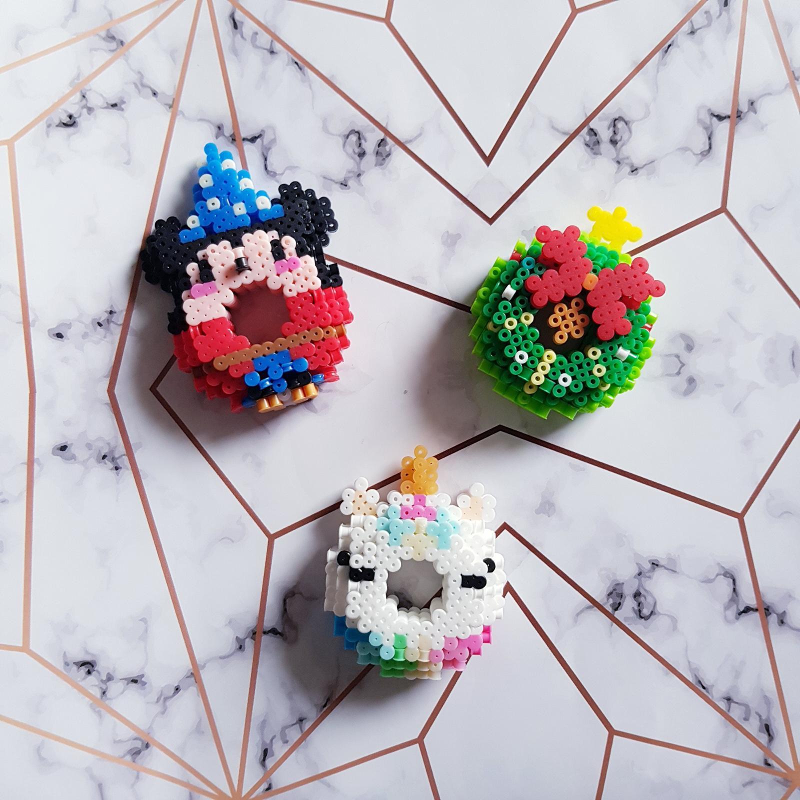 Perler Beads fridge magnets (mickey mouse/unicorn/Christmas wreaths)