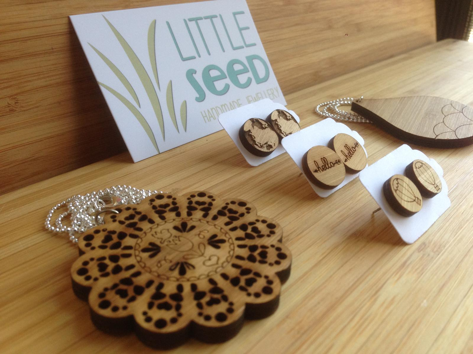 A range of laser cut jewellery available from Little Seed