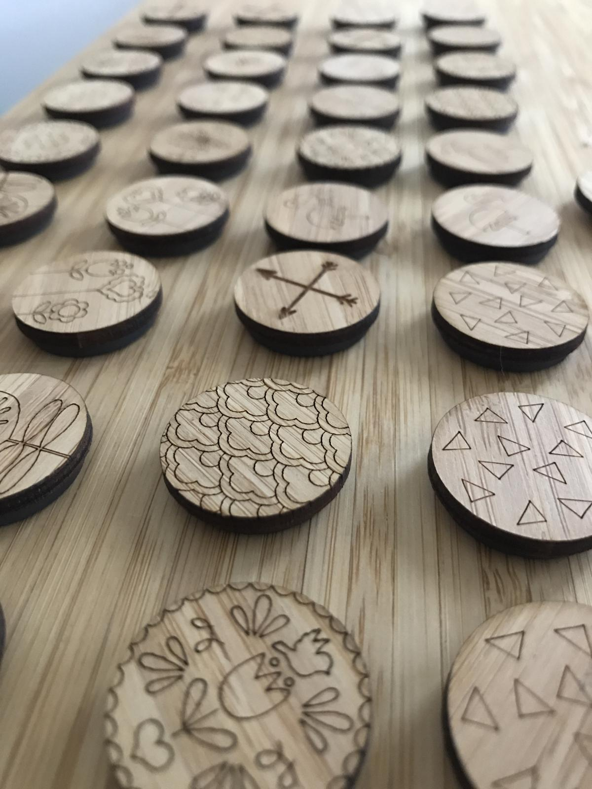 Laser cut wood magnets