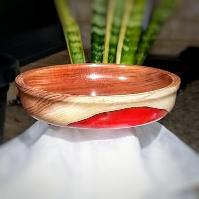 Tasmanian Blackwood Bowl c/w Red Resin Inlay