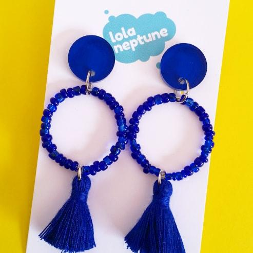 blue tassle earrings