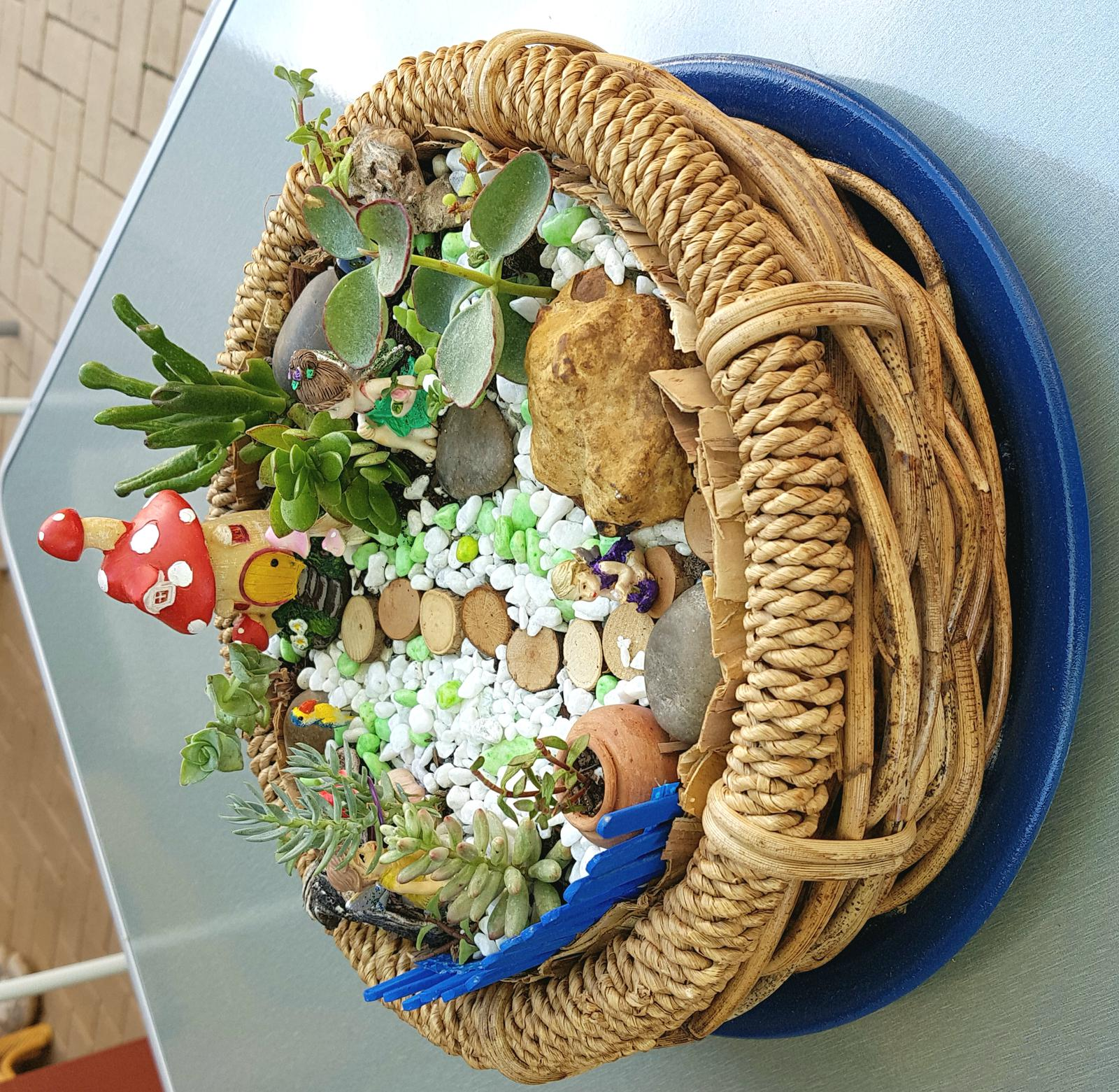Fairy garden in basket