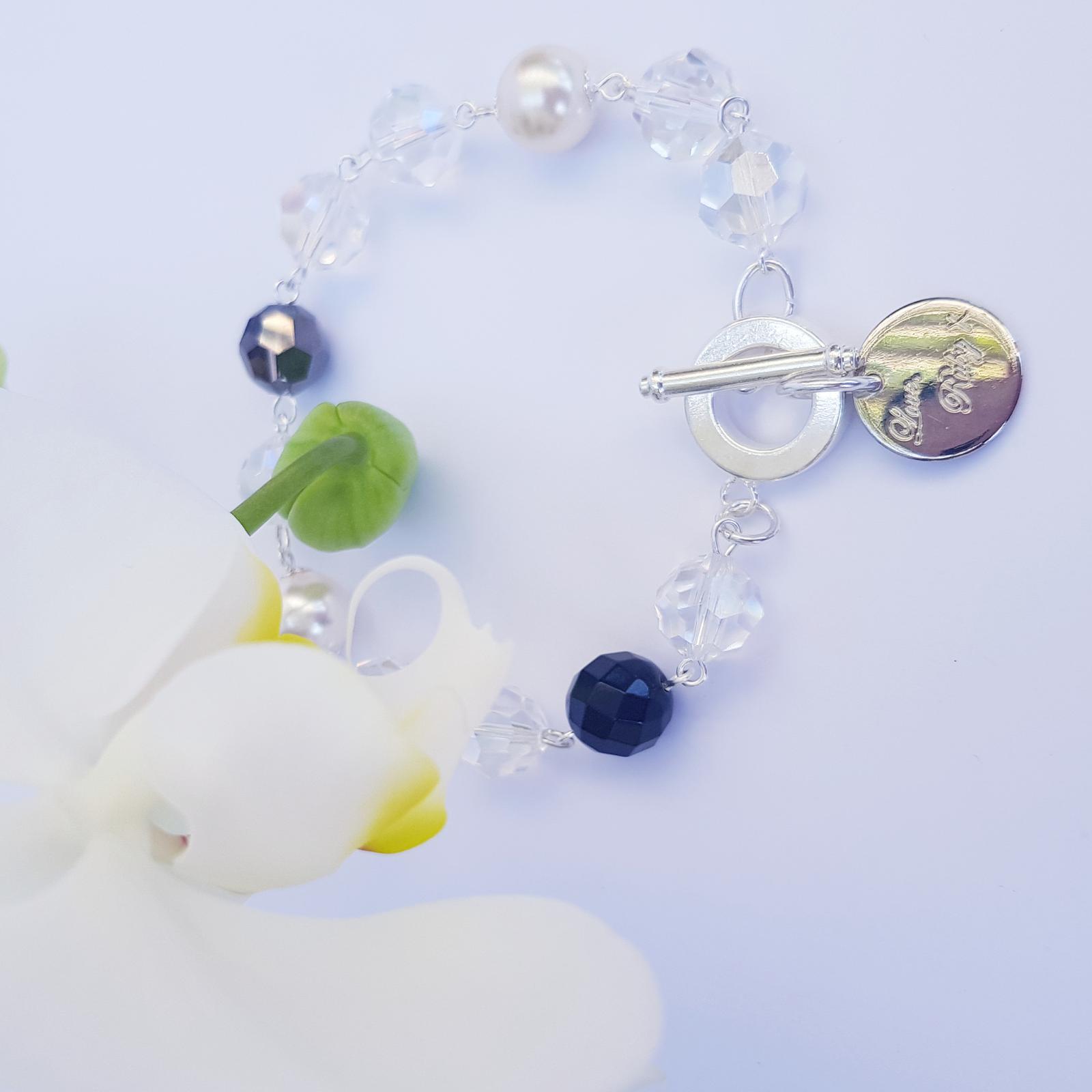 Moonlight - Swarovski crystals, Swarovski pearls, and onyx
