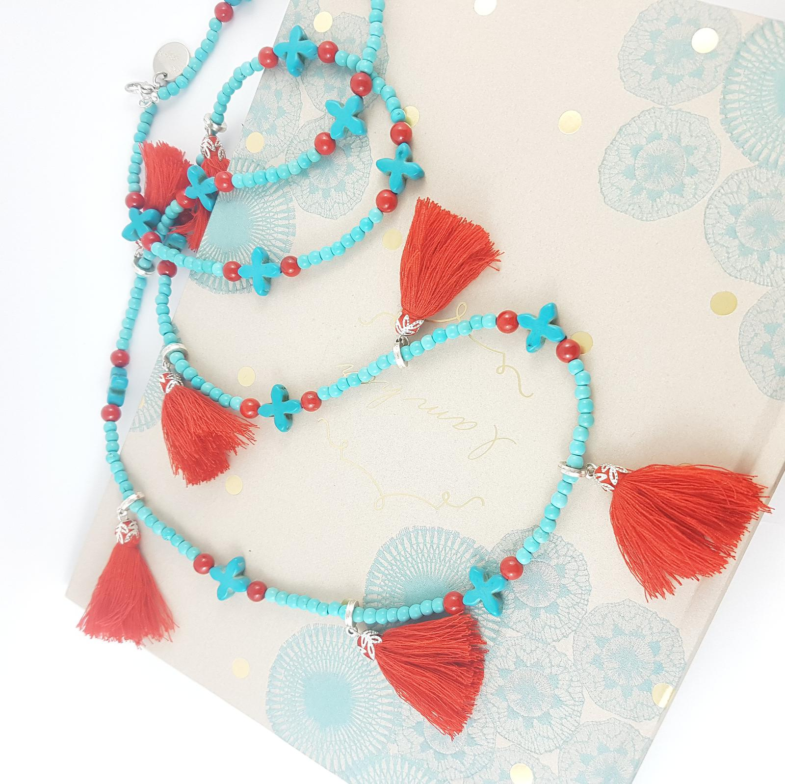 Tijuana Sunshine - howlite, magnesite, riverstone and cotton tassels