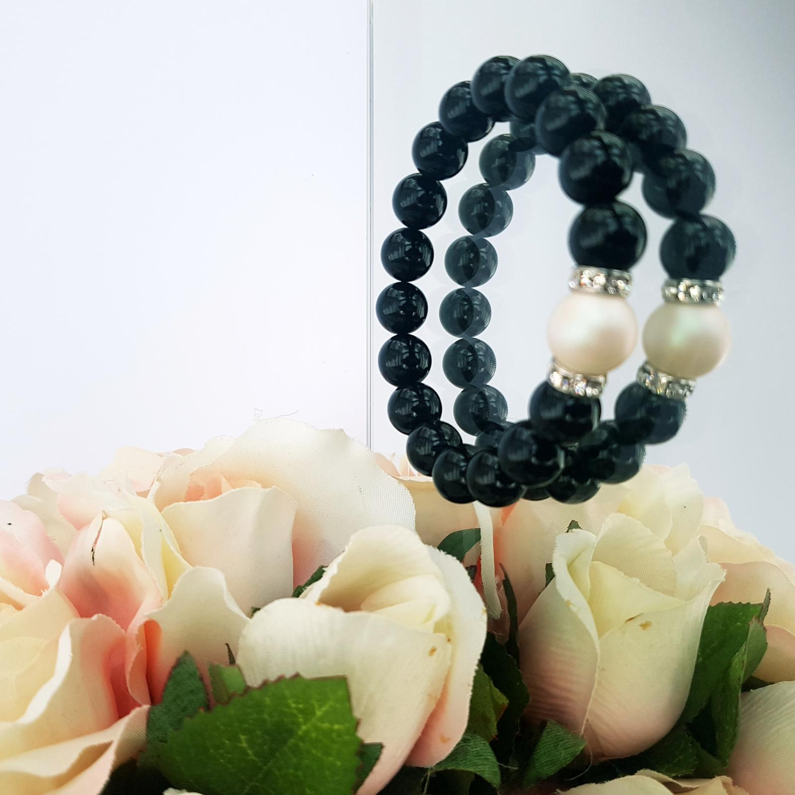 Do You Love Me  - onyx, Swarovski pearl and Swarovski crystals