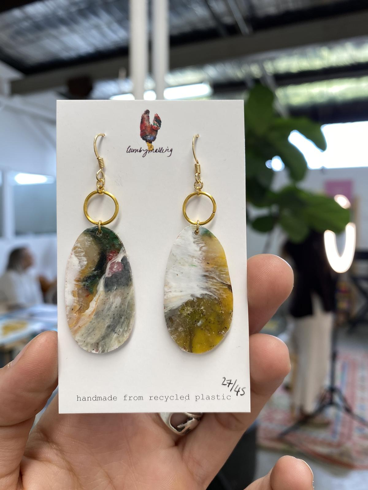Bunker Bay Collection - earrings made from plastic collected off the beach.