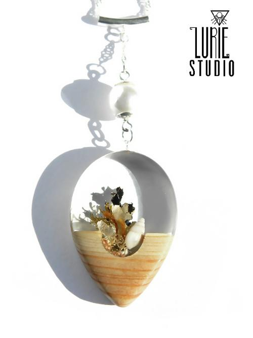 Beach Inspired Pendant - Handcrafted with Native Australian Wood, shell & lichen