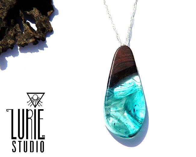 Native Jarrah Blue Swirl Pendant