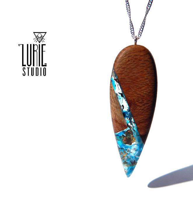 Native Banksia wood Pendant with stunning swirls of blues and coppr flake