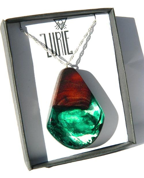 Native Jarrah Pendant with stunning swirls of green