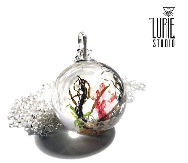 Round orb pendants nature infused - real seaweed pendant