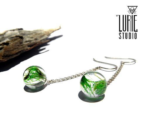 Real Moss sphere earrings