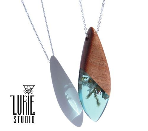 Ocean Inspired Pendant featuring Native Australian Wood, Shell, Moss and lichen