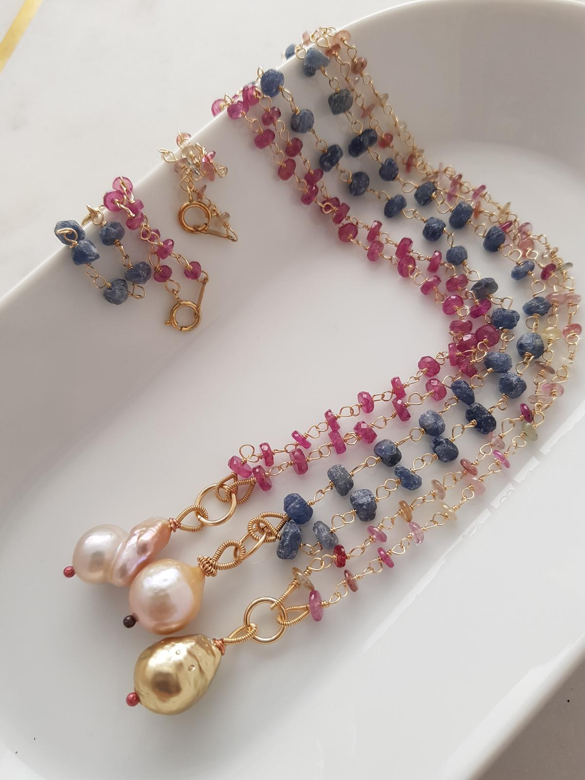 Vintage nucleated freshwater pearls, and sapphires 14kt gold filled hand wired.