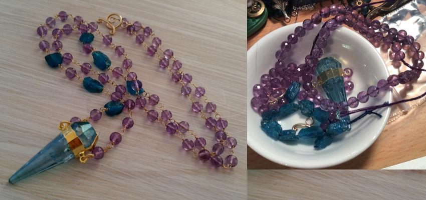 Aqua Aura Quartz, Amethyst & 14kt gold filled necklace