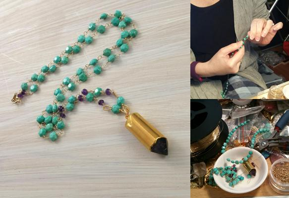 Amethyst bullet, Sleeping beauty turquoise & 14kt gold filled necklace