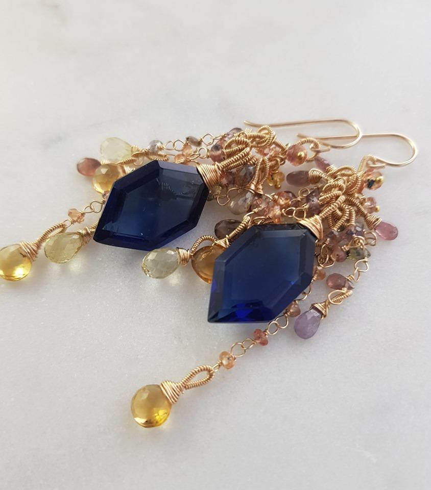 Sapphire, Citrine, Lemon Quartz & Blue Quartz Earrings, handwired 14kt gold fill
